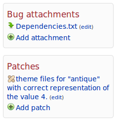 Patches are listed separately from other attachments now