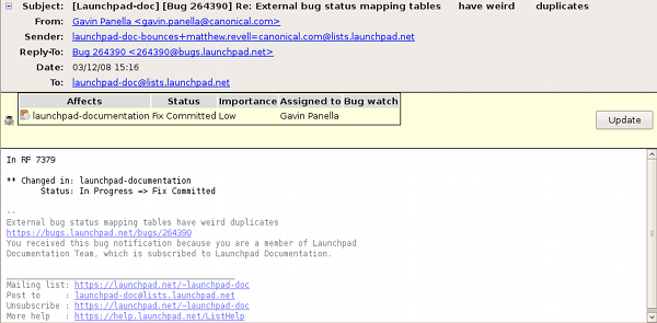 Thunderbird's Bugmail plugin showing the status of a bug tracked in Launchpad